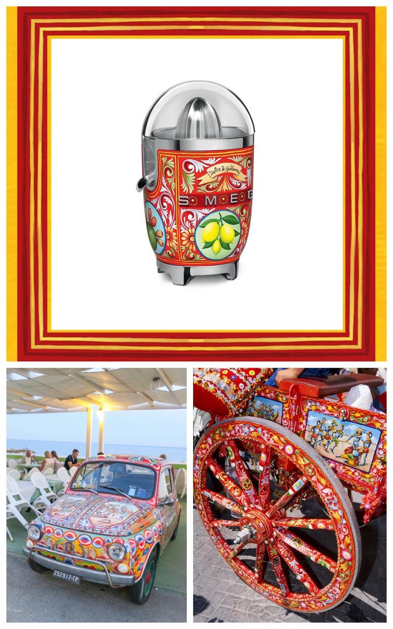 smeg,dolce gabbana,sicile,arts ménagers,folklore sicilien,fiat 500,cinquecento,voiture,vintage