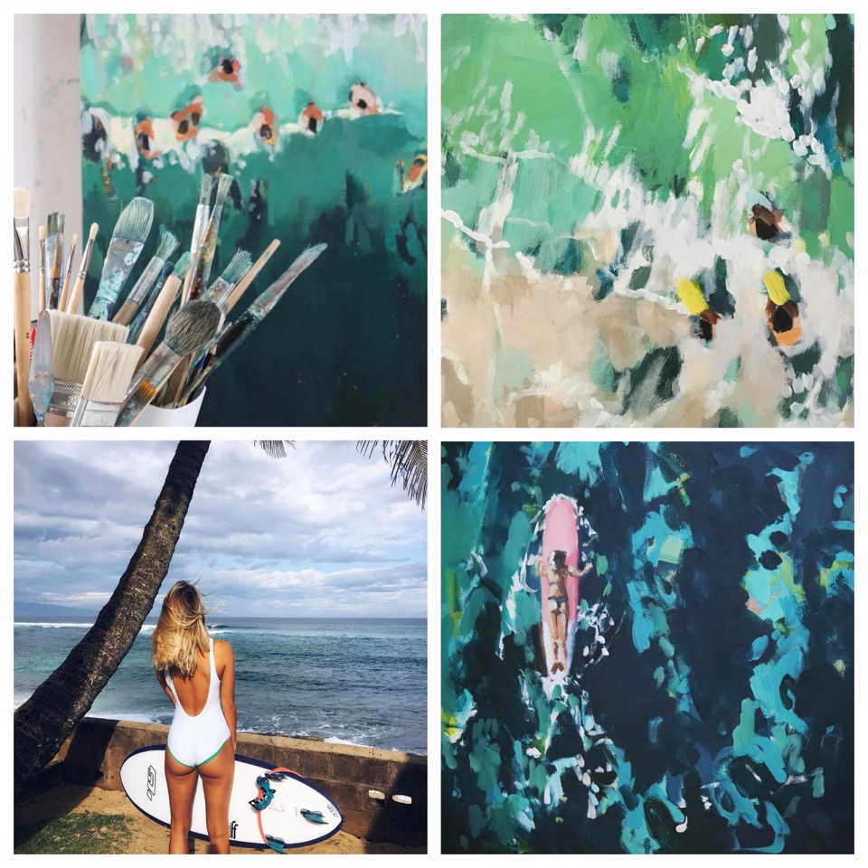 girl's crush,peintre,artiste,surfer girl,surfeuse,sri lanka,hawaii,aloha supérette,angleterre,beach girl