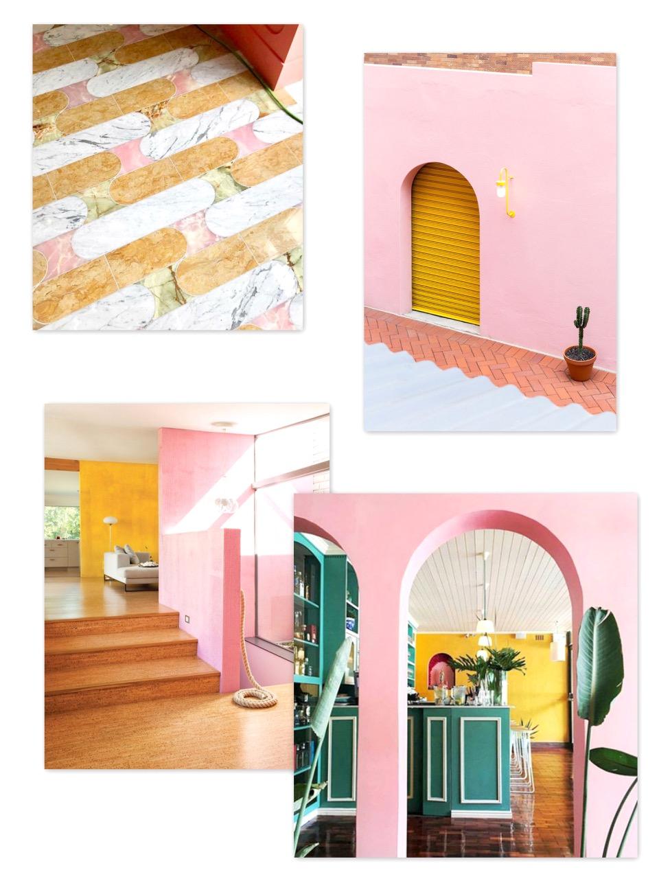 moodboard,inspiration,couleurs,vanille fraise,rose,jaune,sunset,sorbet