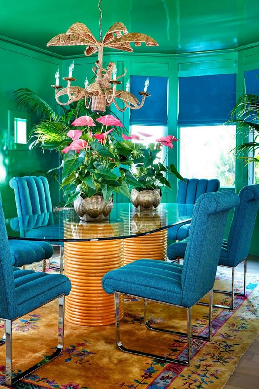 los angeles,poppy delevingne,cara delevingne,décoration,mid century,tropical,rotin,palm print
