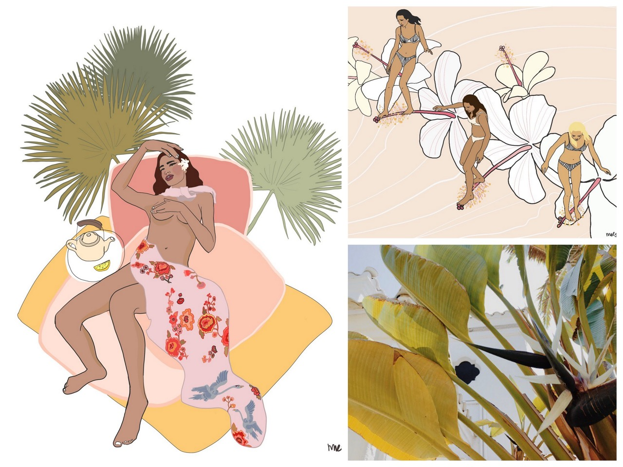 maggie rice,margaret rice,illustratrice,illustration,drawing,painting,artiste,hawaii,tropical flowers,surfer girl,surfeuse,fille de sales,island girl
