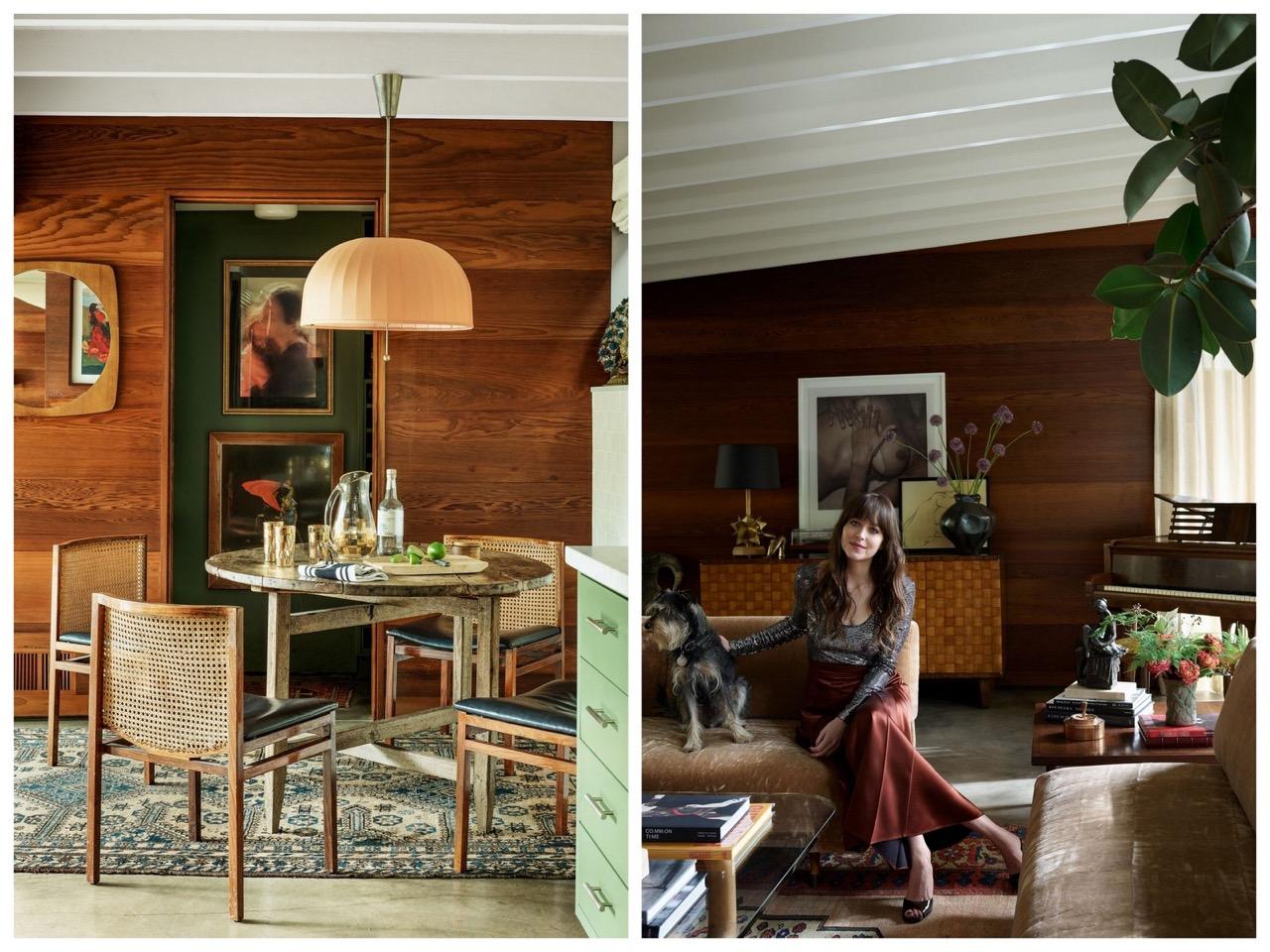 dakota johnson,los angeles,mid century,vintage,actrice,déco,décoration,architectural digest,ad