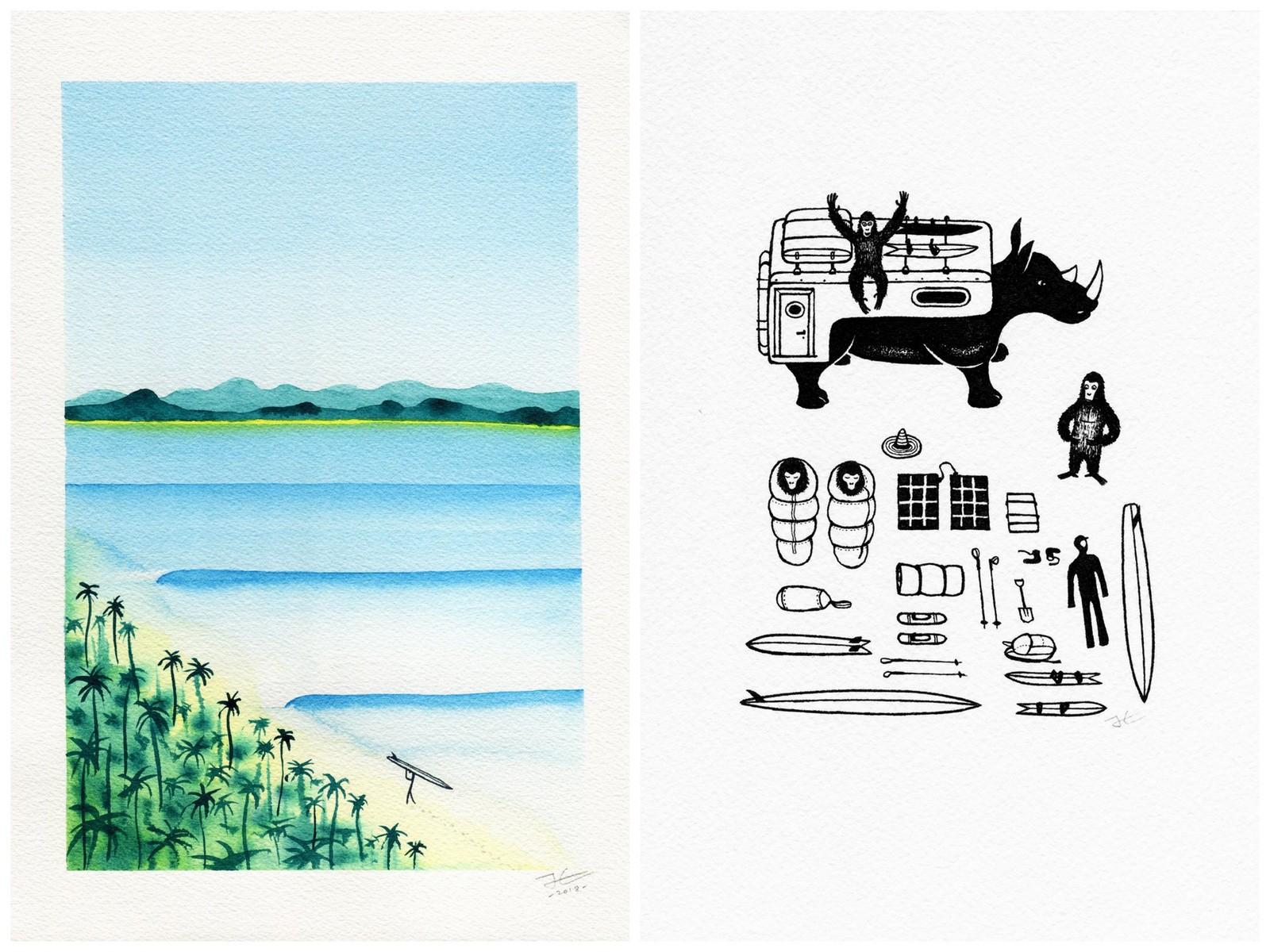 jonas claesson,artiste,peintre,aquarelle,dessin,feutre,australie,suède,stepart,tee-shirts,coloriages,coloriages gratuits,coloriages à télécharger,illustration,surf,animaux,animaux surfeurs
