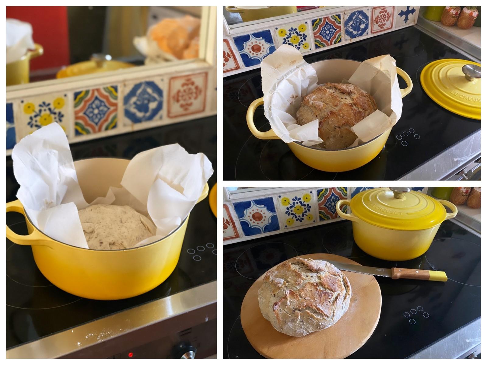 pain,pain cocotte,le creuset,cocotte en fonte,opinel,cuisine,kitchen,home sweet home,villa la bohème,tissage de luz,torchon,linge basque